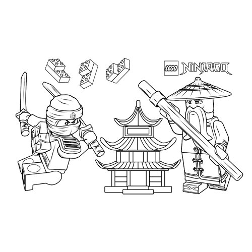 sensei wu y floyd lego ninjago para colorear