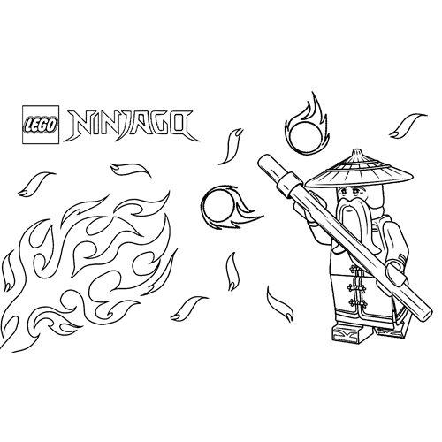 maestro sensei wu lego ninjago para colorear