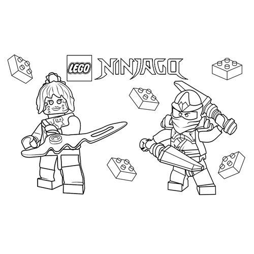 zane y pixel lego ninjago para colorear