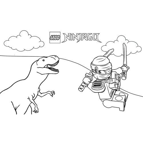 kai y el dinosaurio ninjago para colorear