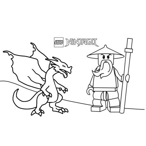 el dragon y sensei wu lego ninjago par colorear