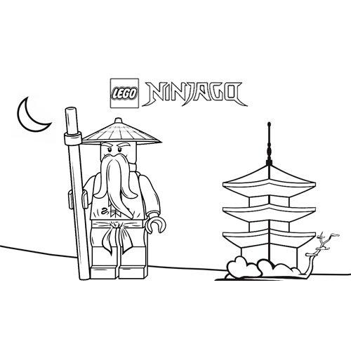 sensei wu en su hogar ninjago para colorear