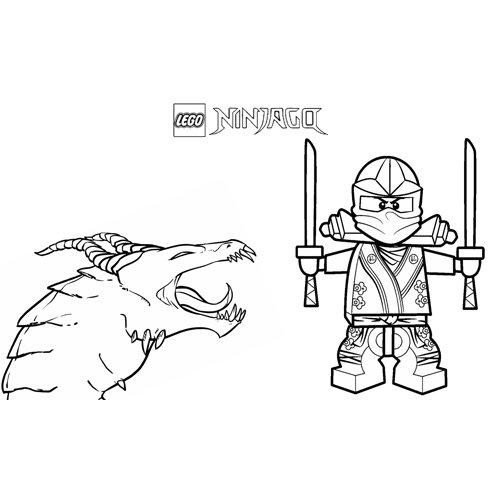 lloyd con el dragon lego ninjago para colorear