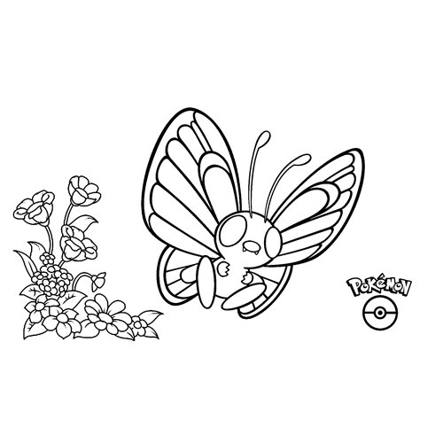 super pokemon butterfre para colorear