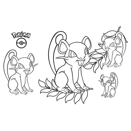 super pokemon rattata para colorea