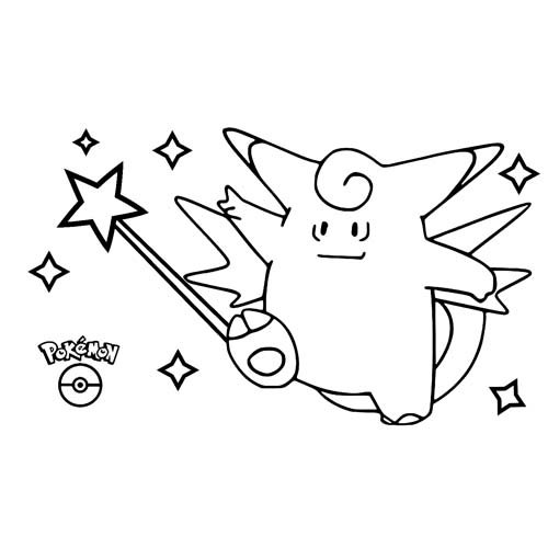 lindo pokemon clefable para colorear