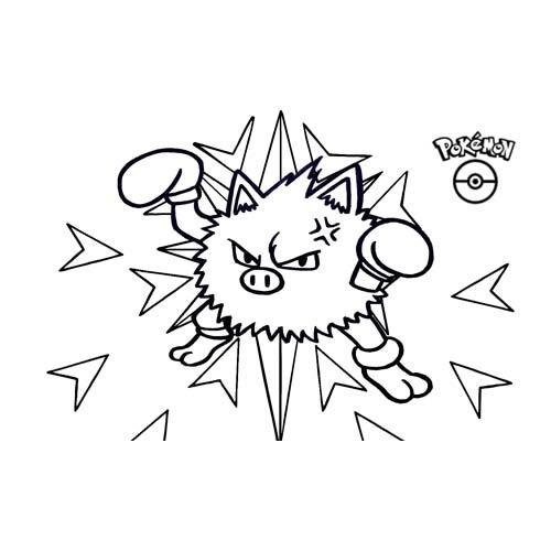 pokemon primeape para colorear