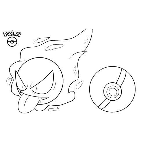 pokemon gastly para colorear