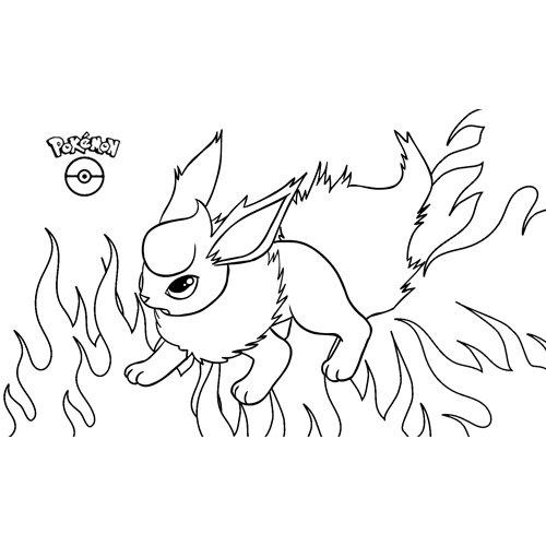 pokemon flareon para colorear