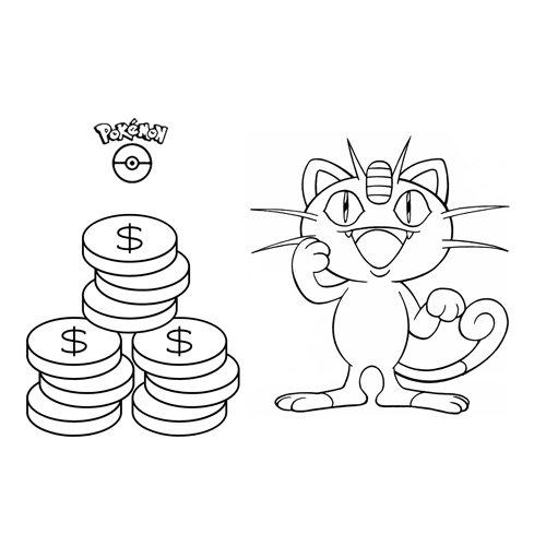 pokemon meowth para colorear