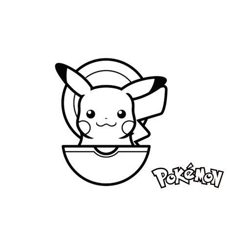 pikachu y su pokeball para colorear