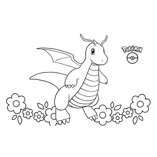 pokemon dragonite para colorear